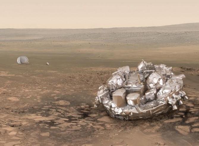 화성착륙 시험용 로버 '스키아파렐리'의 상상도.  - ESA 제공